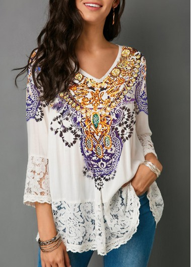 Womens V Neck 3/4 Sleeve White Lace Tunic Top Fashion Blouse - L