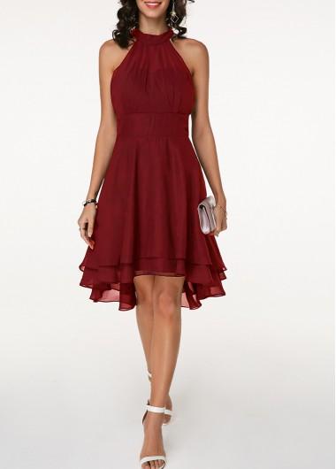 Christmas Holiday Dress Multi Layer Asymmetric Hem Sleeveless Chiffon Dress - L