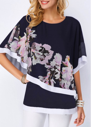 Womens Navy Blue Half Sleeve Floral Print Casual Tunic Top - M