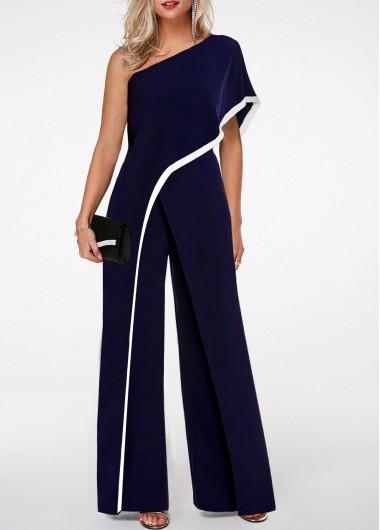 Modlily Navy Blue Jumpsuit One Shoulder Jumpsuit Contrast Trim Jumpsuit for Women - S
