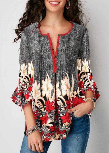 Womens Floral Print Grey 3/4 Sleeve Spring Top Button Up Pleated Printed Three Quarter Sleeve Blouse - L