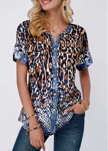 Womens Leopard Print Shortsleeve Spring Top Leopard Print Turndown Collar Button Front Blouse - L