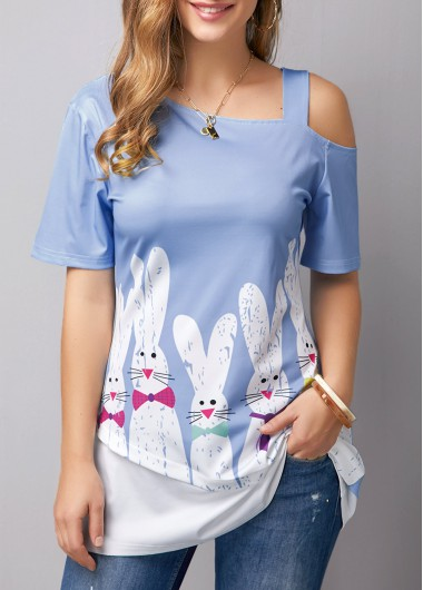 Women's Blue Short Sleeve One Cold Shoulder Animal Rabbit Print Easter T Shirt Tunic Top - L