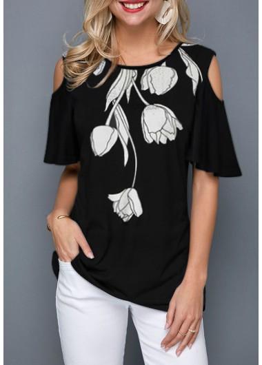 Floral Print Short Sleeve Black Tunic Top Cold Shoulder Flower Print Black T Shirt - L