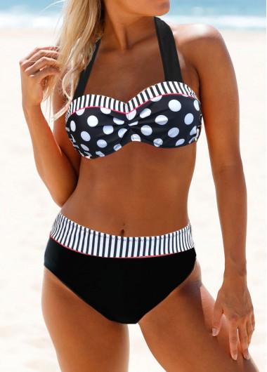 Women's Underwire Black Bikini Strappy Back Mid Waist Dot Print Bikini Set - L