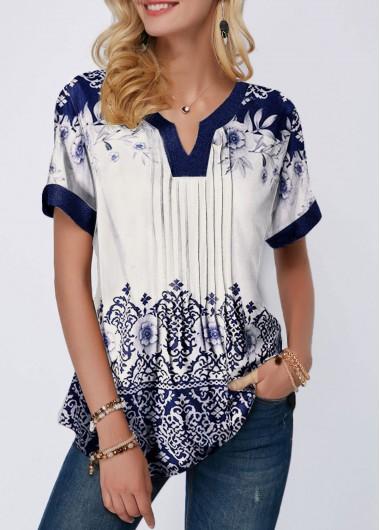 Women's Short Sleeve Retro Print Split Neck Pleated Blouse Tunic Top - M