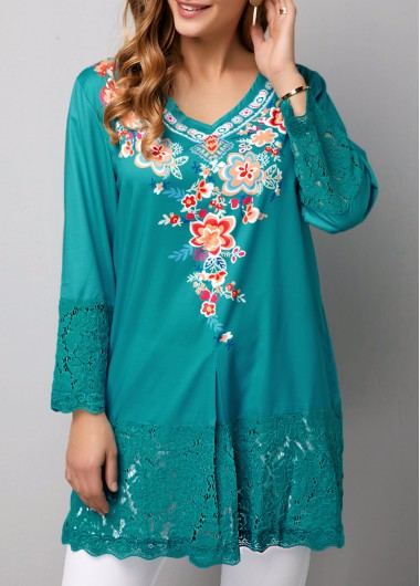 Women's 3/4 Sleeve Spring Top Lace Panel Retro Flower Print Peacock Blue Blouse - M