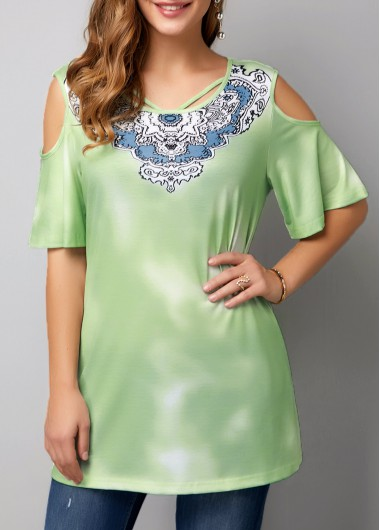 Cold Shoulder Half Sleeve T Shirt - L