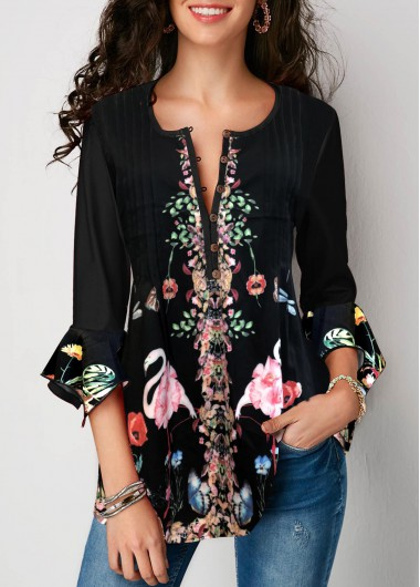 Women's 3/4 Sleeve Black Floral Print Casual Blouse Top - M