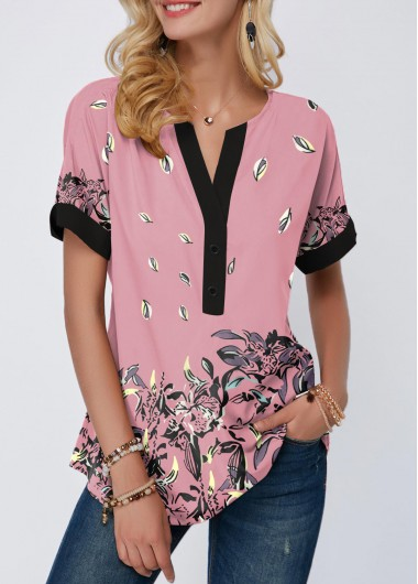Women's Pink Short Sleeve Floral Print Notch Neck Contrast Piping T Shirt - L