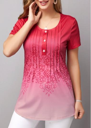 Women's Pink Casual Shirt Crinkle Chest Short Sleeve Gradient T Shirt - L