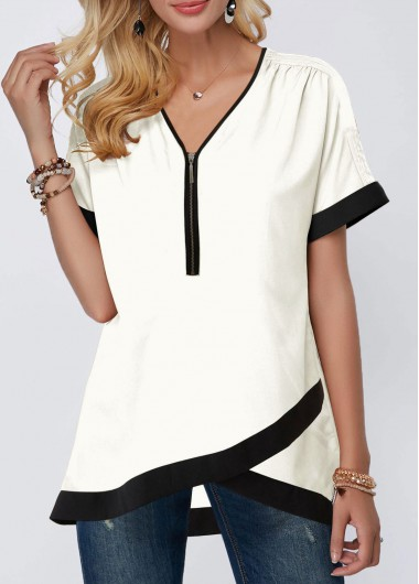 White Short Sleeve Casual Tunic Top for Women Crossover Hem Half Zipper Contrast Piping Edging Blouse - L