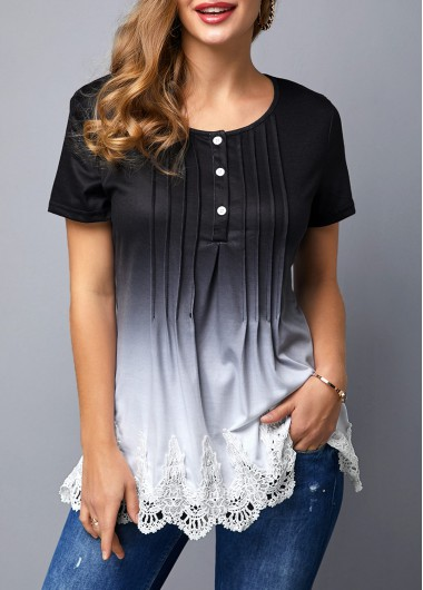 Women's Black Ombre Tunic Top Crinkle Chest Scalloped Hem Lace Panel Gradient T Shirt - S