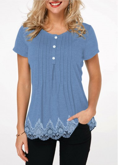 Women's Blue Ombre Tunic Top Lace Panel Scalloped Hem Crinkle Chest T Shirt - L