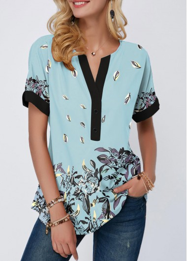 Contrast Piping Floral Print Notch Neck T Shirt - M