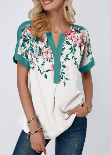 Floral Print Notch Neck Contrast Piping Blouse - M
