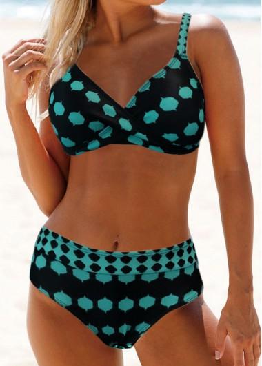 Green Polka Dot High Waist Swimsuit for Women Peacock Blue Polka Dot Print Spaghetti Strap Bikini Set - L