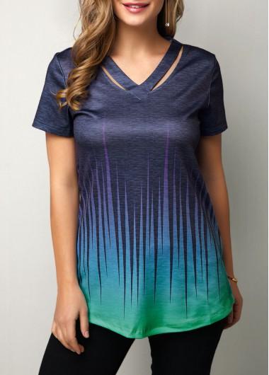 Navy Blue Casual Shirt for Women Dazzle Color Cutout Neckline Short Sleeve T Shirt - M