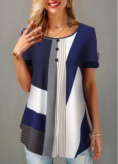 Short Sleeve Color Block Tunic Top for Women Geometric Print Button Detail Round Neck Blouse - L