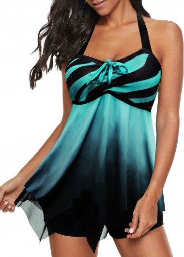 Women's Halter Bowknot Detail Stripe Print Swimdress And Shorts Blue Striped Padded Swimsuit - L
