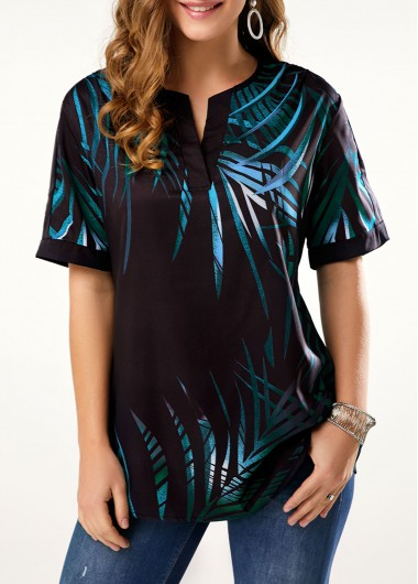 Split Neck Tropical Print Short Sleeve T Shirt - L