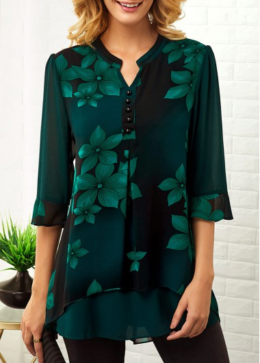 Women's Green Floral Print Button Up 3/4 Sleeve Fashion Tunic Blouse - L