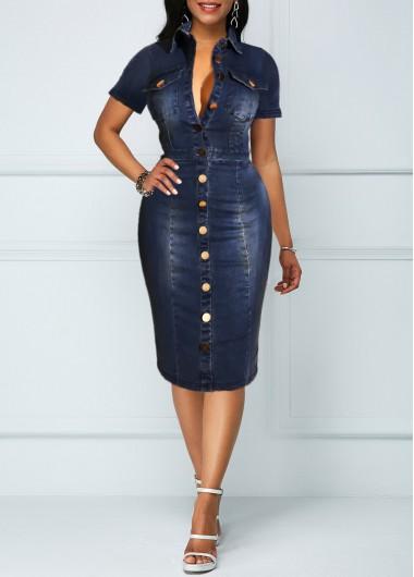 Button Up Chest Pocket Turndown Collar Denim Dress - L