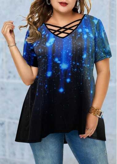 Starry Night Print Lattice Front Plus Size Blouse - 0X