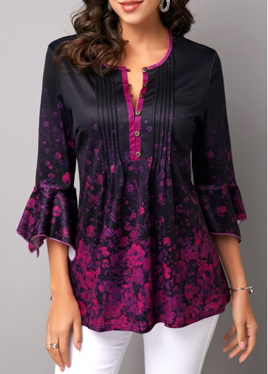 Button Front Flare Sleeve Printed Blouse - L