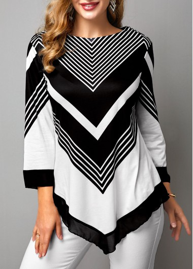 Color Block Chevron Print Asymmetric Hem T Shirt - M