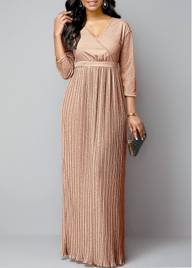 Hot Stamping Plunging Neck Pleated Hem Maxi Dress - XL