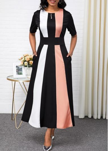 Color Block High Waist Button Detail Maxi Dress - L