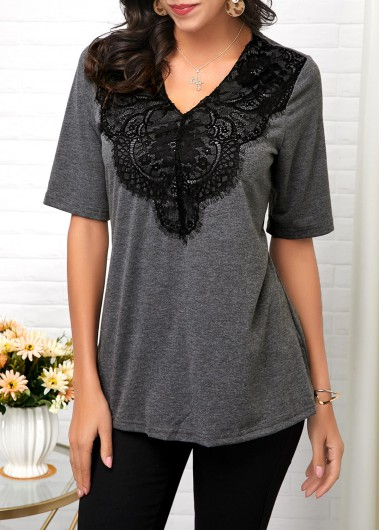 Lace Panel Half Sleeve V Neck T Shirt - L