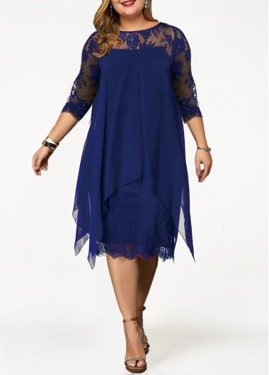 Plus Size Dress Lace Panel Dress Straight Dress Overlay Dress 3/4 Sleeve Dress Royal Blue Dress Elegant Dress - 0X