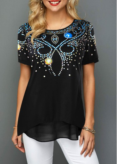 Round Neck Short Sleeve Printed T Shirt - L