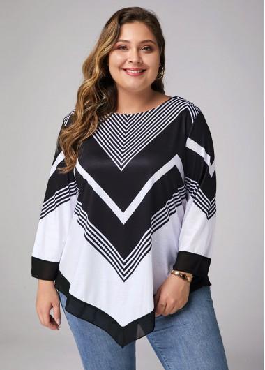 Plus Size Asymmetric Hem Printed Three Quarter Sleeve T Shirt - 0X