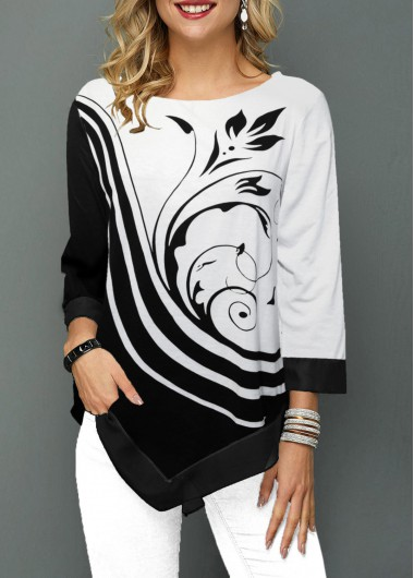 Black And White Color Block Floral Print Asymmetric Hem 3/4 Sleeve Round Neck Tunic Top Blouse - L