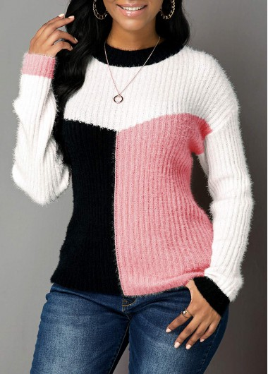 Pink Long Sleeve Round Neck Sweater - L