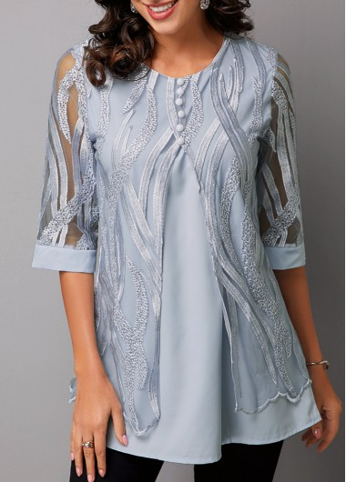 Women's Grey Half Sleeve Lace Panel Faux Two Piece Casual Shirt - M