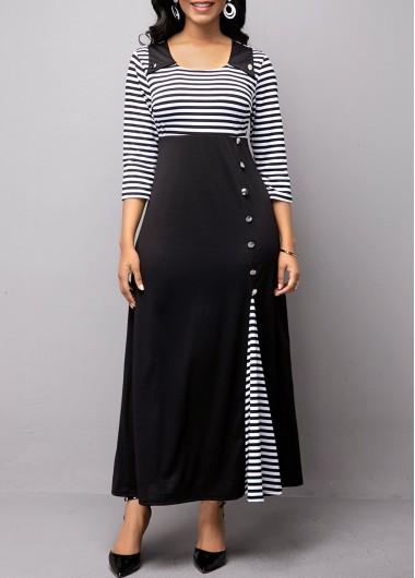 Stripe Print Button Detail High Waist Dress - M