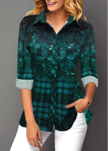 Turndown Collar Button Up Long Sleeve Blouse - M