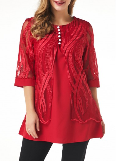 Women's Red Half Sleeve Lace Panel Faux Two Piece Casual Shirt - L