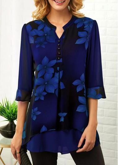 Women's Blue Flower Print 3/4 Sleeve Split Neck Button Detail Blouse - L