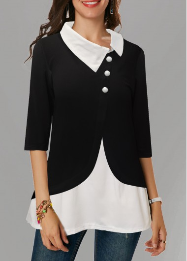 Women's Black 3/4 Sleeve Asymmetric Neckline Work Shirt - L