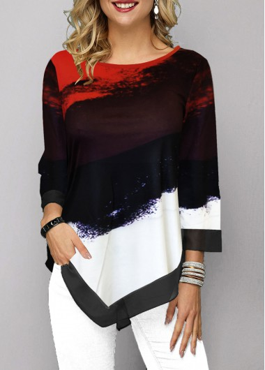Women's 3/4 Sleeve Color Block Printed Round Neck Asymmetric Hem Casual T Shirt - L