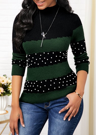 Mock Neck Bead Embellished Color Block Sweater - XXL