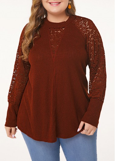 Plus Size Lace Panel Curved Hem T Shirt - 0X