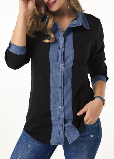 Turndown Collar Roll Tab Sleeve Button Up Shirt - L