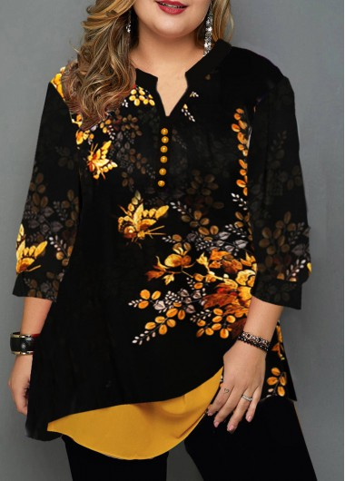Plus Size Flower Print Layered Hem Blouse - 0X