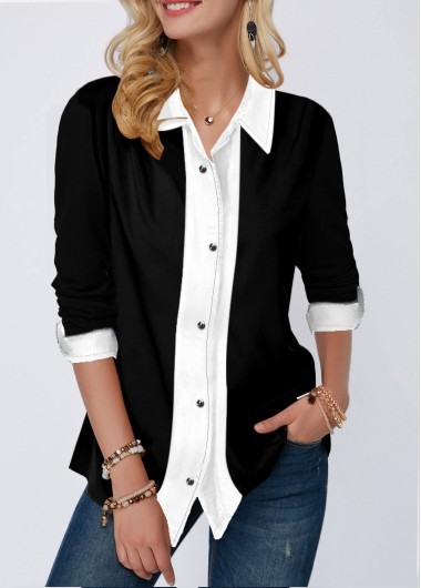 Button Up Turndown Collar Contrast Panel Shirt - L